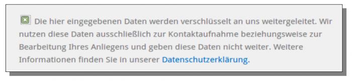 Screenshot Checkbox Kontaktformular