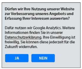 Screenshot Erlaubnis google Analytics