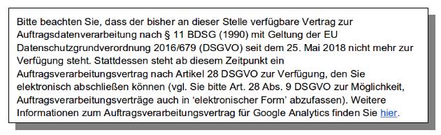 Screenshot Auftragsverarbeit Google Analytics