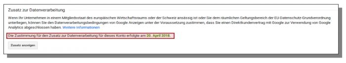 Screenshot Zustimmung Datenverarbeitung