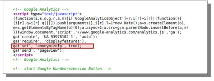 Screenshot Quellcode Anonymisierung IP-Adresse
